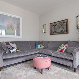 Idee per un soggiorno chic chiuso con sala formale, pareti grigie, pavimento in laminato, TV a parete e pavimento grigio