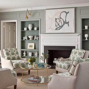 リッチモンドの広いトランジショナルスタイルのおしゃれなLDK (グレーの壁、カーペット敷き、標準型暖炉、テレビなし、フォーマル) の写真