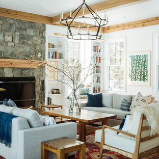 Living room - large transitional open concept and formal light wood floor and brown floor living room idea in Portland Maine with white walls, a standard fireplace, a stone fireplace and no tv