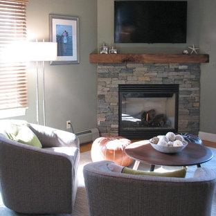 Diseño de salón tradicional renovado, de tamaño medio, con chimenea de esquina, marco de chimenea de piedra, televisor colgado en la pared y paredes grises