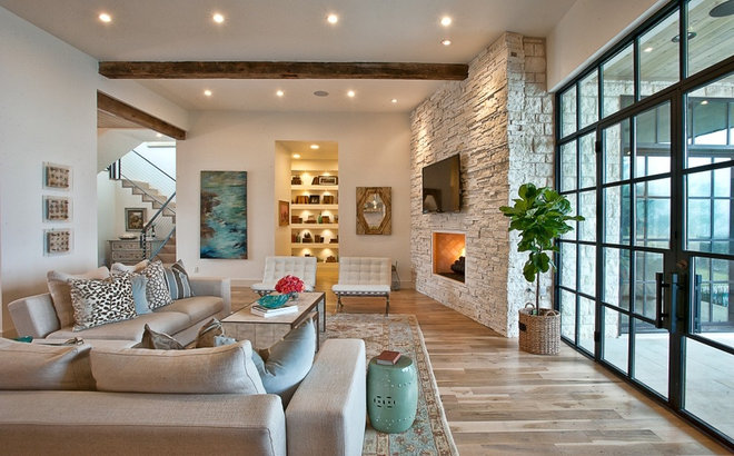 Transitional Living Room by Greenbelt Construction