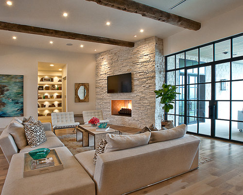 Superior Inspiration For A Transitional Medium Tone Wood Floor Living Room Remodel  In Austin With White Walls