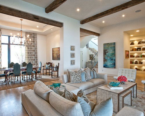 Example Of A Classic Open Concept Living Room Design In Austin With Beige  Walls