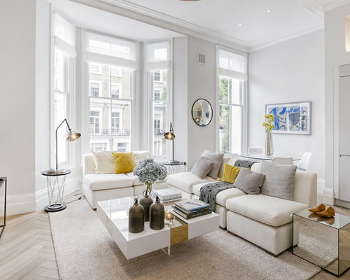 Photo Of A Medium Sized Traditional Open Plan Living Room In London With  White Walls,