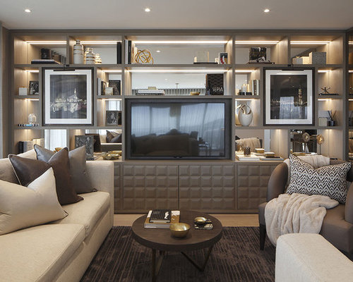 Medium Sized Contemporary And Modern Open Plan Living Room In London With Grey Walls Light