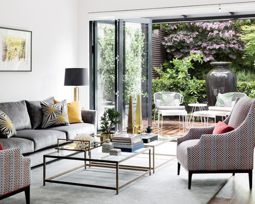 photo of a transitional living room in melbourne - Transitional Design Ideas