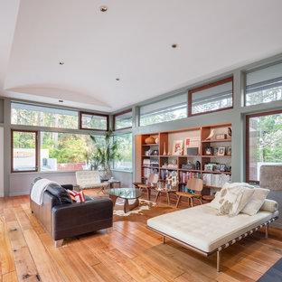 Foto di un soggiorno minimal aperto con pareti grigie, pavimento in legno massello medio e pavimento marrone