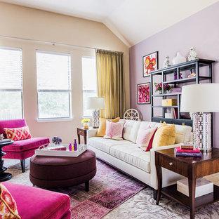 オースティンの大きいエクレクティックスタイルのおしゃれな独立型リビング (フォーマル、マルチカラーの壁、セラミックタイルの床、暖炉なし、テレビなし) の写真