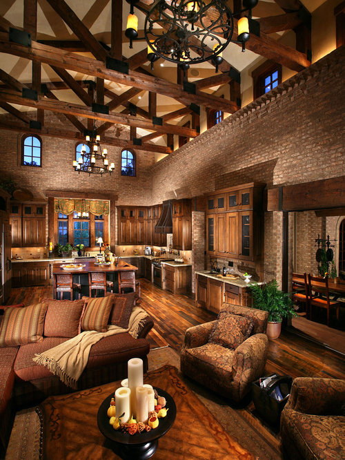 Tuscan Open Concept Dark Wood Floor Living Room Photo In Denver
