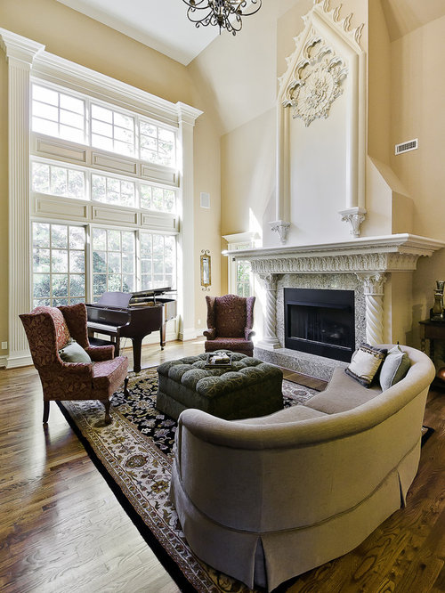 Traditional Living Room Idea In Little Rock With Pink Walls And A Standard Fireplace