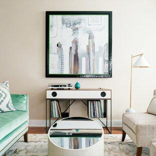 Mid Sized Minimalist Open Concept Medium Tone Wood Floor And Brown Floor Living  Room Photo