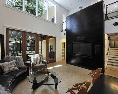 example of a large transitional living room design in austin with a built in media - Tv Wall Panels Designs