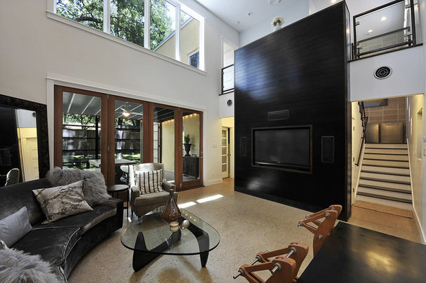 Transitional Living Room by hatch + ulland owen architects