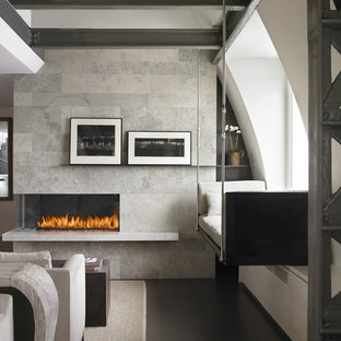 Living room - contemporary living room idea in New York with gray walls and a ribbon fireplace