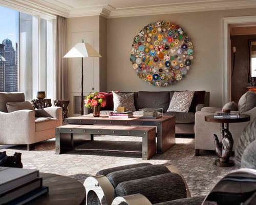 Trendy Living Room Photo In New York With Beige Walls Part 38