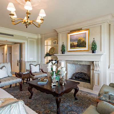 Example of a classic formal beige floor living room design in Other with beige walls, a standard fireplace, a stone fireplace and no tv