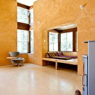 Foto di un piccolo soggiorno rustico aperto con pareti arancioni, nessuna TV, stufa a legna e pavimento in cemento