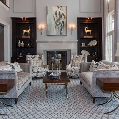 Large transitional formal and open concept dark wood floor living room photo in DC Metro with gray walls, a standard fireplace, a stone fireplace and no tv