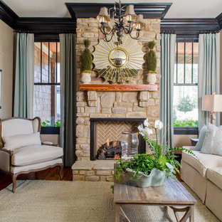 This is an example of a medium sized traditional formal open plan living room in Atlanta with a standard fireplace, grey walls, dark hardwood flooring, a stone fireplace surround and brown floors.