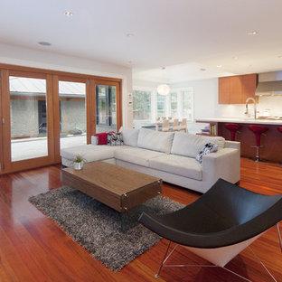 Modelo de salón abierto, moderno, con paredes blancas y suelo rojo
