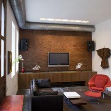 Industrial Living Room by Sandvold Blanda Architecture + Interiors LLC