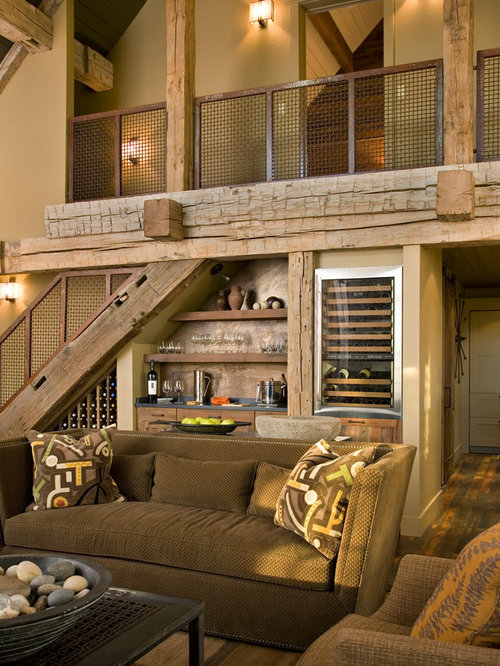 Mid Sized Mountain Style Open Concept Living Room Photo In Other With Beige  Walls And Part 92