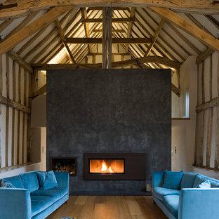 Diseño de salón para visitas campestre con paredes grises, suelo de madera clara, chimenea lineal y marco de chimenea de metal