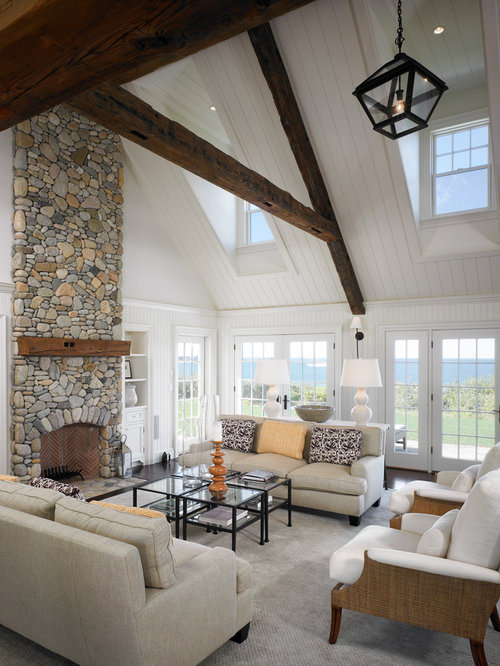 Inspiration for a large beach style open concept dark wood floor living  room remodel in Boston