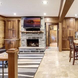 Example Of A Classic Open Concept Ceramic Floor And Beige Floor Living Room  Design In Minneapolis