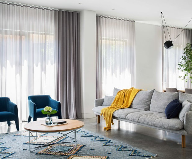 Contemporary Living Room by Hogan's Curtains & Blinds