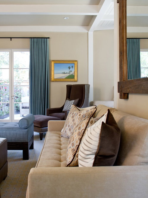 Beige And Blue Living Room | Houzz