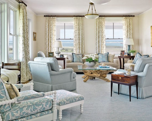 Inspiration For A Mid Sized Beach Style Formal And Enclosed Carpeted Living Room Remodel In