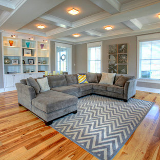 Example of a trendy living room design in Louisville with gray walls