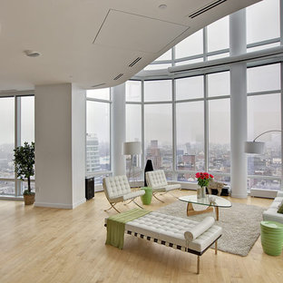 Example of a huge minimalist living room design in New York