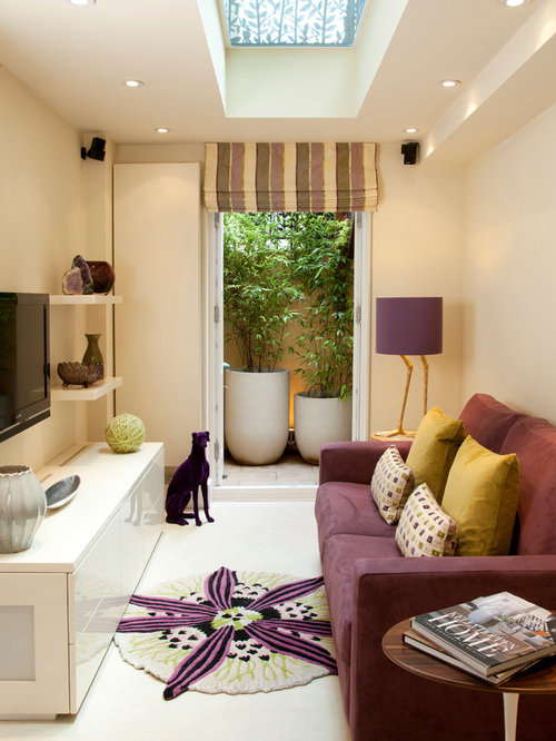Purple Living Room gray and purple living roomtjihome Transitional Living Room Idea In London