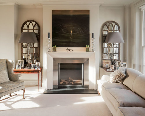 Mid Sized Transitional Formal Carpeted Living Room Photo In London With Beige Walls A