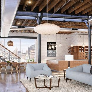 Exempel på ett industriellt vardagsrum, med ett finrum, vita väggar och mellanmörkt trägolv
