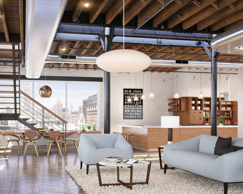 Small Industrial Living Room : Industrial Small Open Plan Kitchen Living Room Home Design Ideas ...
