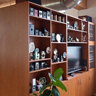 Idéer för att renovera ett litet eklektiskt loftrum, med ett finrum, röda väggar, ljust trägolv och en fristående TV