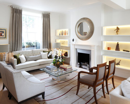 Transitional Formal Light Wood Floor Living Room Photo In London With White  Walls, A Standard Part 66