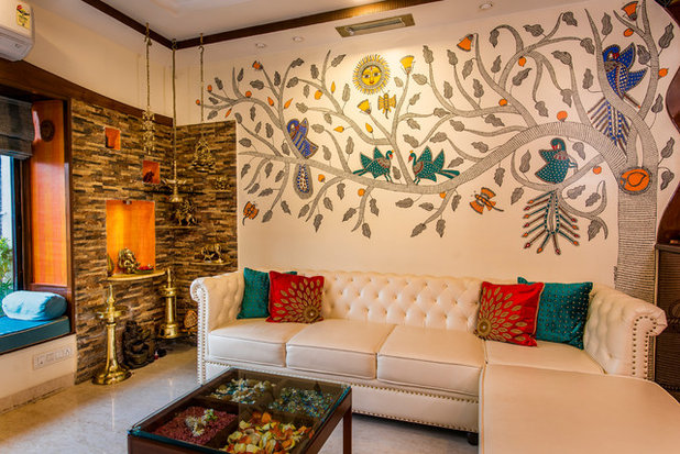 Indian Living Room by reNNovate home solutions pvt ltd