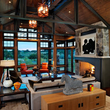 Rustic Family Room by Ekman Design Studio