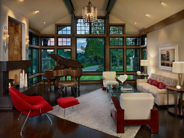 Rustic Living Room by Ekman Design Studio