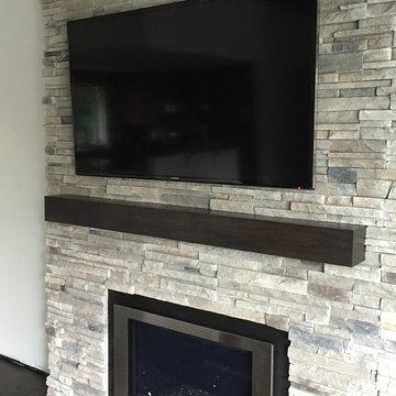 Cherry wood fireplace mantels