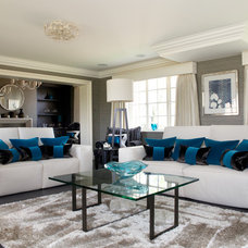 Transitional Family Room by Fiona Watkins Design Limited