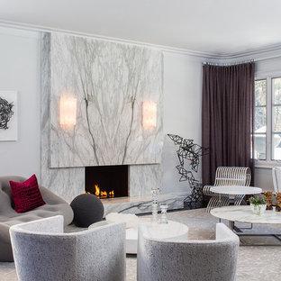 Immagine di un soggiorno design con camino classico e cornice del camino in pietra