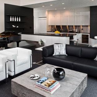 Foto di un grande soggiorno design aperto con sala della musica, pareti bianche e moquette