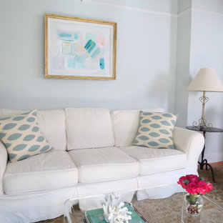 Trendy living room photo in Charleston with blue walls
