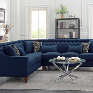 Chic Home Aberdeen Left Facing Sectional Sofa, Navy Blue