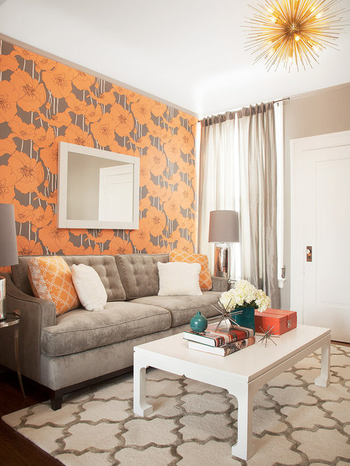 Gray and orange living room home design ideas pictures for Grey and orange living room ideas